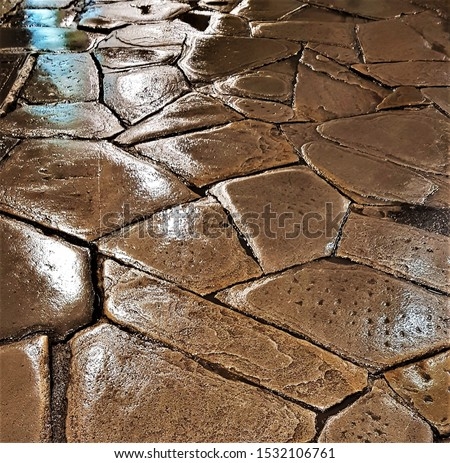 Cobble stone street close up, Italy