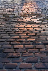 Cobbled, ancient city of stone road.