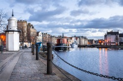 Cobbled Footpath along Leith Harbour, Edinburgh, Scotland