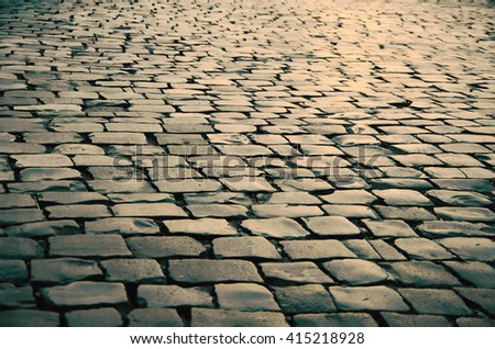cobbled road as background #415218928