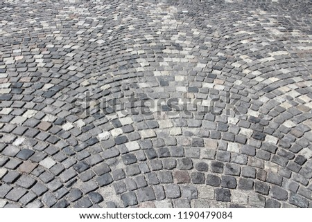 Cobbled square background - stone cobble patterns in Budapest, Hungary.