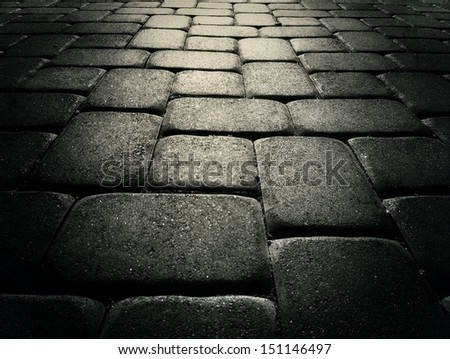 Cobbled stone street background, closeup perspective. #151146497