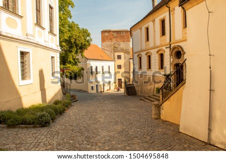 Cobbled street of the old city. Horizontal view.  Mikulov, Czech Republic.