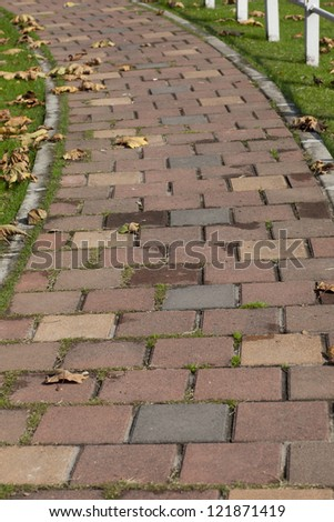 cobbledstone path C-curve  in the park
