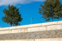Cobbles and concrete at the new river bank at Lent near Nijmegen, The Netherlands, shortly after its completion