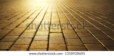 Cobbles at sunset. Sunlight on Cobbled Stones. sun light and sun rays. empty background. no people. paving slabs