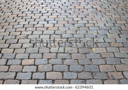 Cobbles on a road in Belgium