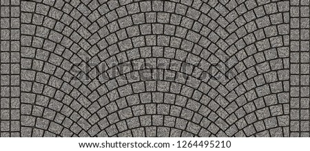 Cobblestone arched pavement road with edge courses at the sidewalk. Seamless tileable repeating 3D rendering texture.