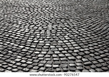 Cobblestone background texture. Cobbled street in Gdansk, Poland.