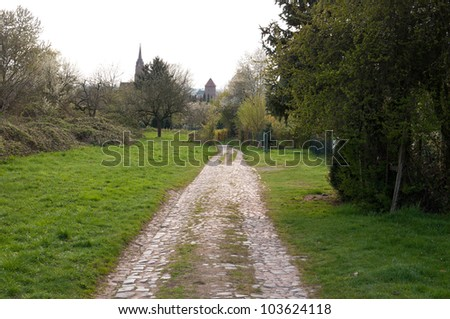 Cobblestone country road in spring