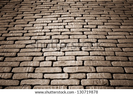cobblestone pavement on a square in the evening