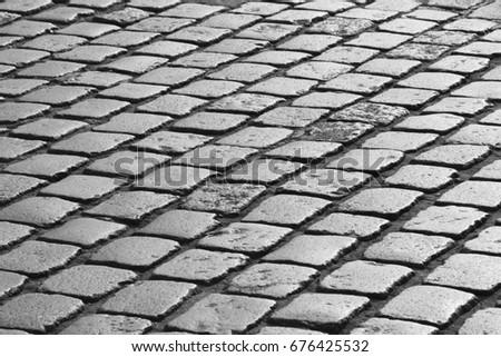 cobblestone road in Paris in black and white