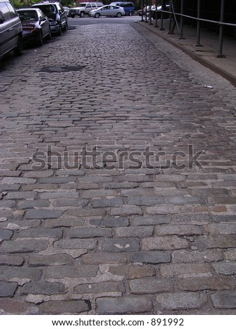 Cobblestone Street in Dumbo, Brooklyn - stock photo