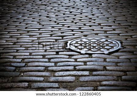 Cobblestone street in new york city stock photo