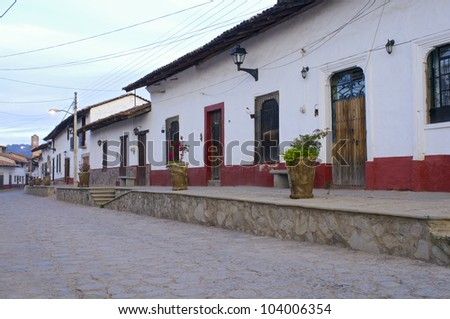 Cobblestone streets of Tapalpa Mexico and adjoining residences