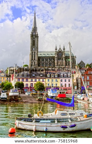 Cobh town and St. Colman's Neo-Gothic cathedral in Ireland, Cork County
