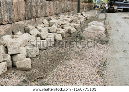 Coble stone work in the town of Boras in sweden agust 2018 #1160775181