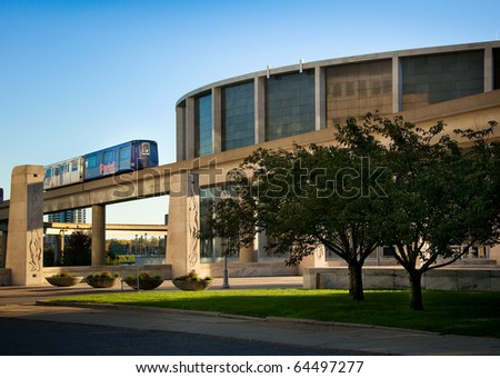 Cobo Arena and Train, Detroit