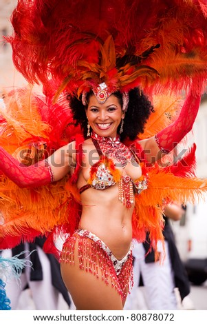 COBURG, GERMANY - JULY 13: An unidentified female samba dancer participates at the annual samba festival in Coburg, Germany on July 13, 2008.