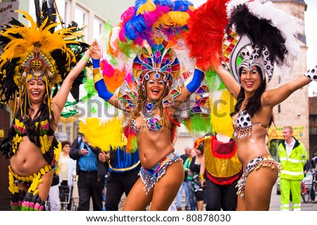 COBURG, GERMANY - JULY 13: The unidentified female samba dancers participate at the annual samba festival in Coburg, Germany on July 13, 2008.
