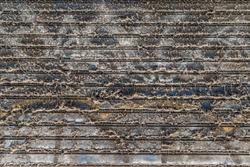 Cobwebs, Dirt and grime on rolling steel door. Wallpaper background.