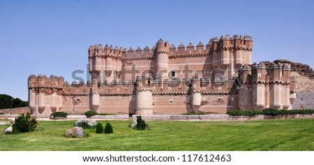 Coca Castle located in the small town, Segovia Province, Castile and Leon, Spain. It is a popular touristic attraction and a perfectly preserved ancient fortress