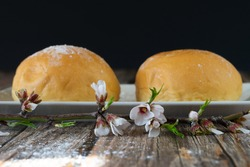 coca de patata, typical pastry from Mallorca, Spain on a wooden background. horizontal picture
