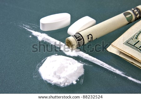 Cocaine and drug money for snorting