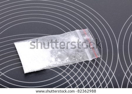 Cocaine in packet, closeup