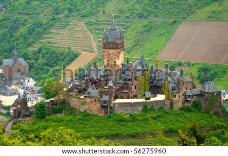 Cochem city panorama. View at Reichsburg Castle.
