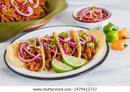 Cochinita Pibil, Mexican tacos Mayan cuisine from Yucatan Mexico