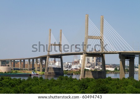 Cochrane-Africatown Bridge, a cable stayed suspension bridge, crosses the Mobile River in Mobile, Alabama.