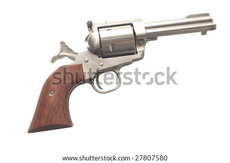 cocked stainless steel revolver isolated on a white background