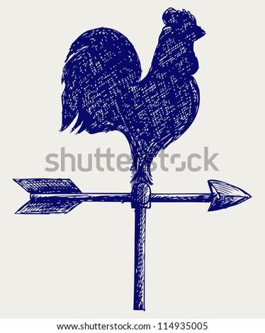 Cockerel wind vane. Doodle style. Raster version