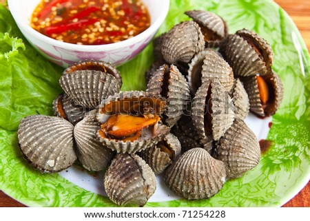 Cockles grill,Thai style seafood - stock photo