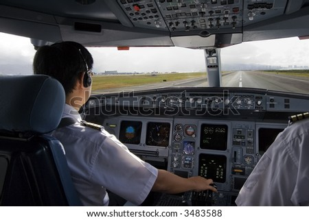 Cockpit crew starting takeoff roll