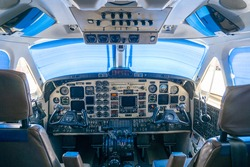 Cockpit in airplane