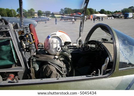Cockpit of a jet fighter