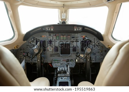 Cockpit of a private business jet #195519863