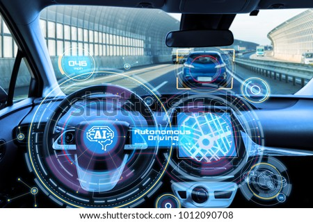 Cockpit of autonomous car and AI(Artificial Intelligence). Driverless car. Self driving vehicle. UGV. #1012090708