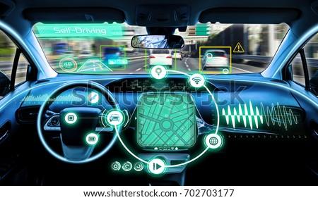 cockpit of autonomous car. self driving vehicle.