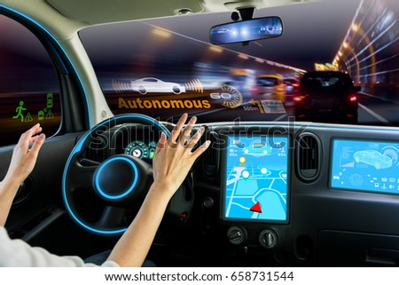 cockpit of autonomous car. self driving vehicle hands free driving. #658731544