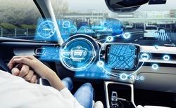 Cockpit of driverless vehicle. Autonomous car. Advanced transportation.