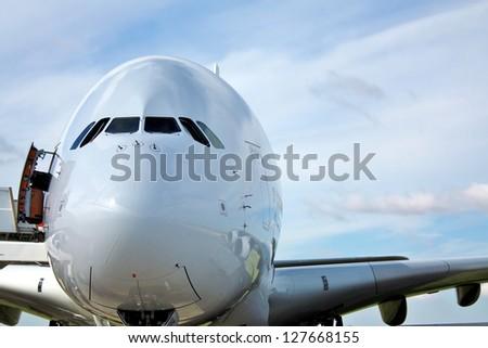 Cockpit of large passenger aircraft