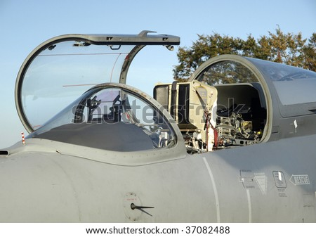 Cockpit of modern military jet aircraft