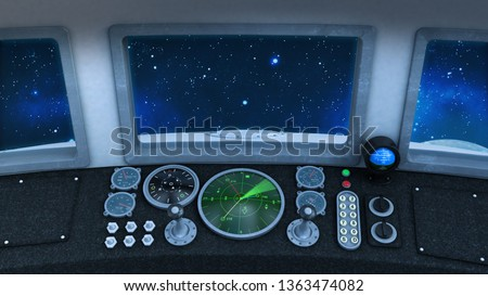 Cockpit of retro UFO Spaceship in deep space, vintage spacecraft flying in the Universe with planet and stars, inside view, 3D rendering