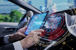 Cockpit of the autonomous car concept. Driverless car. Self-driving vehicle. UGV.