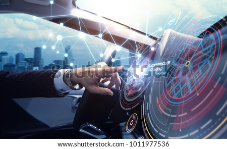 Cockpit of the autonomous car concept. Driverless car. Self-driving vehicle. UGV. #1011977536