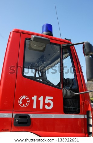 cockpit of the fire truck during an emergency exit to rescue citizens