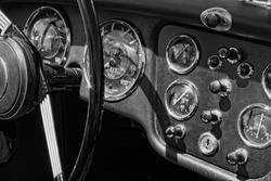 Cockpit of vintage sports car